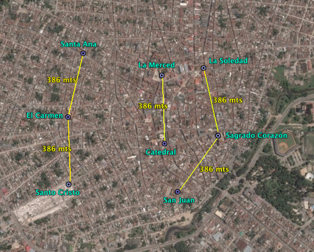Distancias de 386 mts entre las iglesias de Camaguey.