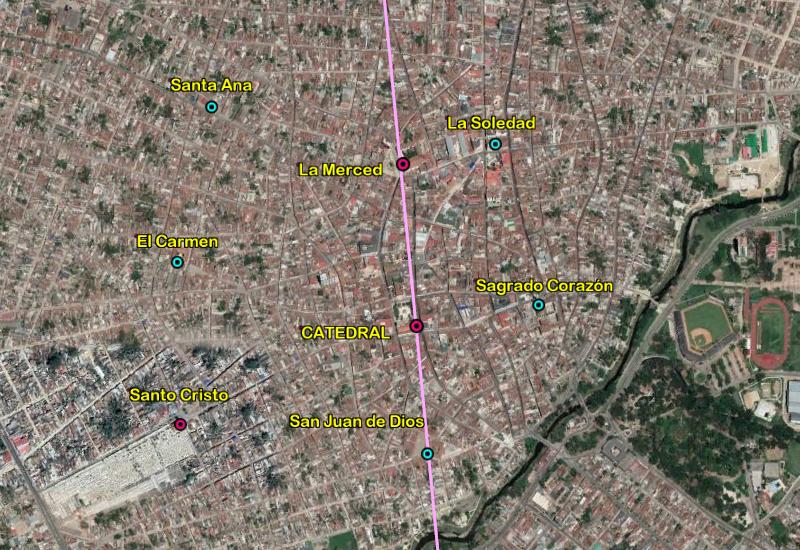 Línea pasando por las principales iglesias de Camaguey.